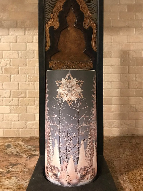 Classy Christmas, Tall,  Flameless Candle, 4x8, Keleka Designs