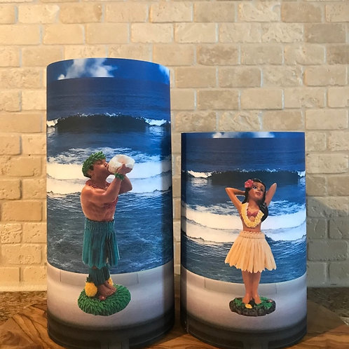 Dashboard Hula Girl or Guy, Set, Flameless Candle, 4x6, 4x8, Keleka Designs