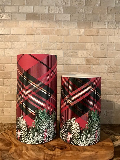Plaid Christmas, Set, Flameless Candle, 4x6, 4x8, Keleka Designs