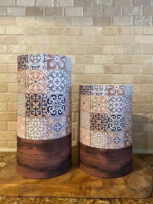 Boho Tile & Wood, Set, Flameless Candle, 4x6, 4x8, Keleka Designs
