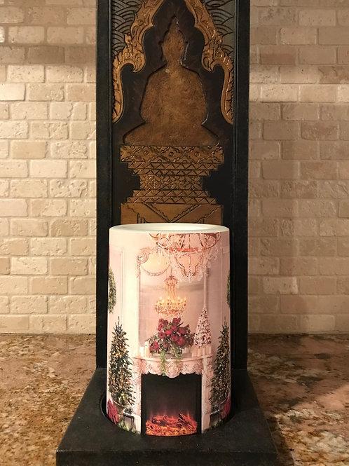 Christmas Fireplace,  Flameless Candle, 4x6, Keleka Designs
