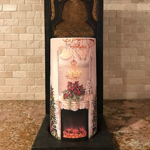 Christmas Fireplace, Tall,  Flameless Candle, 4x8, Keleka Designs