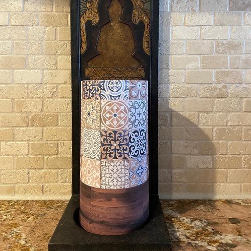 Boho Tile & Wood, Tall, Flameless Candle,  4x8, Keleka Designs