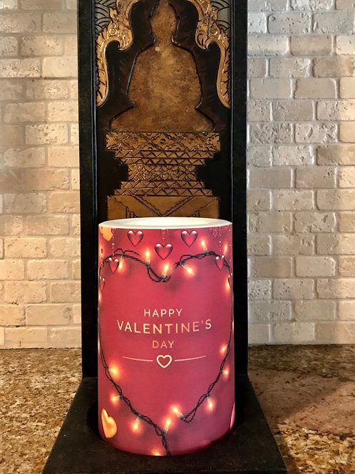 Happy Valentines Day, Flameless Candle, 4x6, Keleka Designs