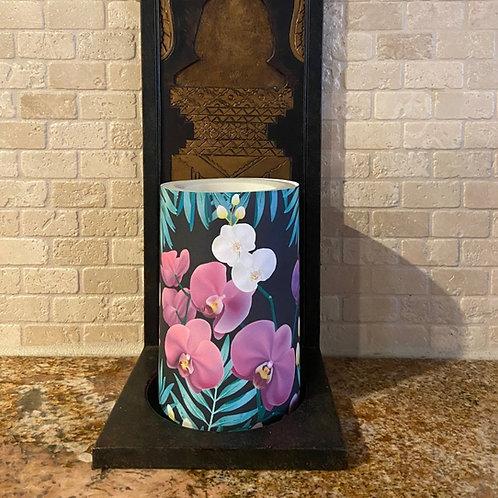 Wild Orchids,  Flameless Candle, 4x6, Keleka Designs