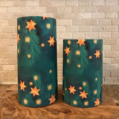 Evergreen Stars, Set, Flameless Candle ,4x6, 4x8, Keleka Designs