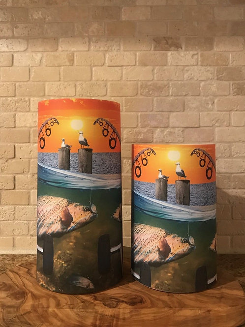 Gone Fishing, Set, Flameless Candle, 4x6, 4x8 Keleka Designs