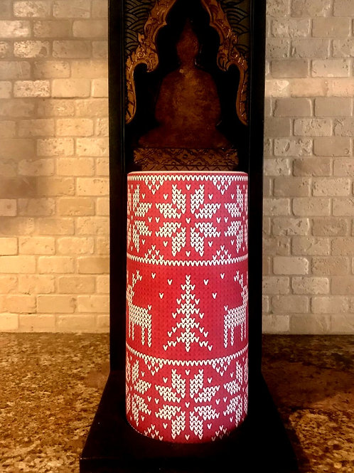 The pretty ugly sweater, Tall,  Flameless Candle, 4x8, Keleka Designs