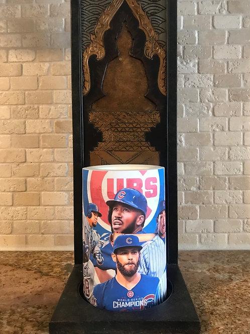 Chicago Cubs, Flameless Candle, 4x6, Keleka Designs