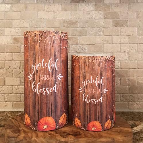 Grateful Thankful Blessed, Set, Flameless Candle ,4x6, 4x8, Keleka Designs