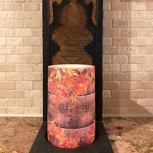Leaves of Fall, Flameless Candle, 4x6, Keleka Designs