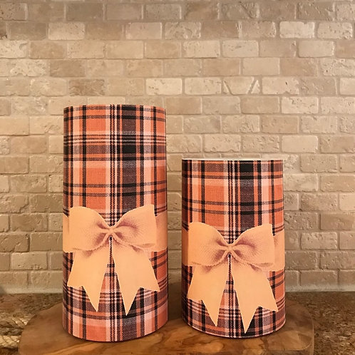 Plaid of Fall, Set, Flameless Candle, 4x6,4x8, Keleka Designs