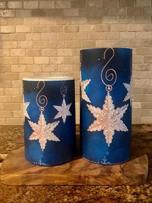 Winter Stars Set, Flameless Candle, 4x6, 4x8, Keleka Designs