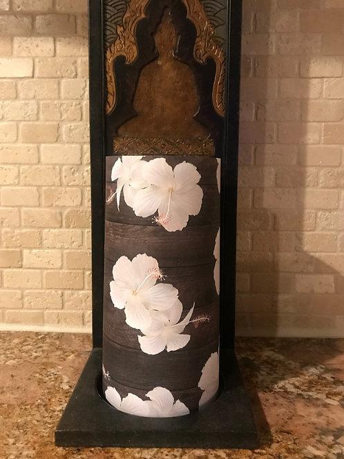 Classy Hibiscus on Dark Wood, Tall, Flameless Candle, 4x8, Keleka Designs