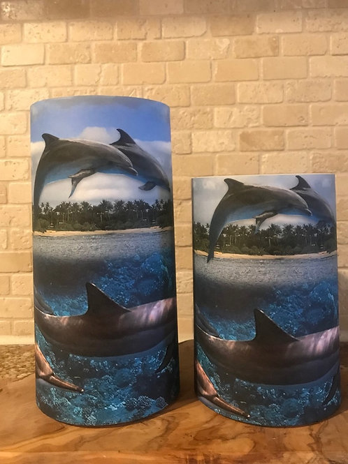 Dancing Dolphins, Set, Flameless Candle, 4x6, 4x8, Keleka Design