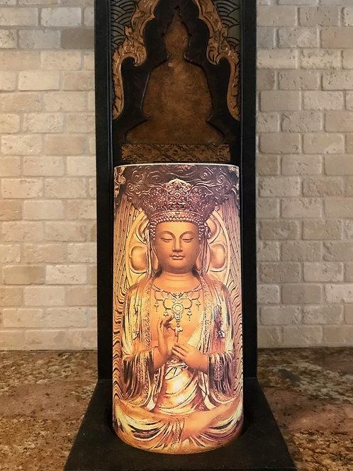 Buddha Love, Tall,  Flameless Candle, 4x8, Keleka Designs