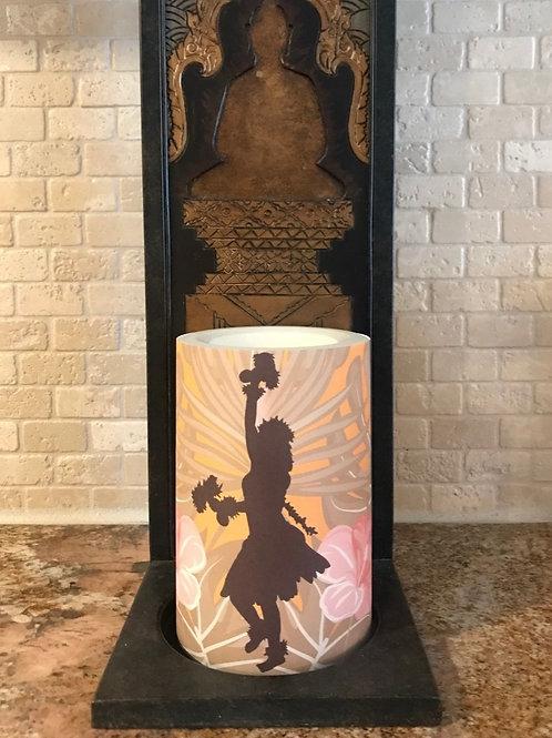 Hawaiian Hula, Flameless Candle, 4x6, Keleka Designs