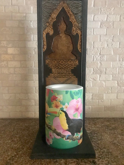Toucan and flowers, Flameless Candle, 4x6, Keleka Designs