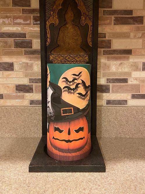 Witchy Pumpkin, Tall, Flameless Candle, 4x8, Keleka Designs