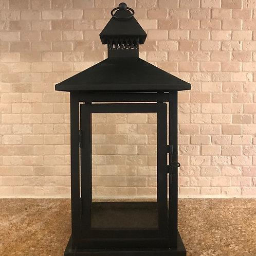 """16"""" Black Rectangular Metal Lantern"""