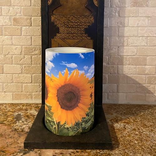 Sunflowers,  Flameless Candle, 4x6,  Keleka Designs