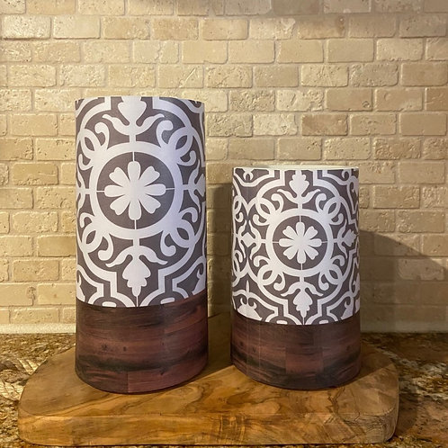 Boho Flower & Wood, Set, Flameless Candle, 4x6, 4x8, Keleka Designs