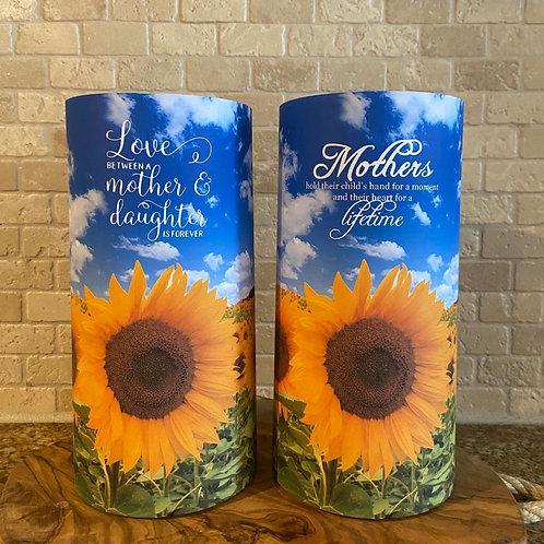 Mothers & Sunflowers, Tall, Flameless Candle, 4x8, Keleka Design