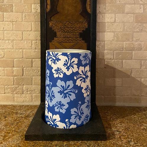 Blue & White Hibiscus,  Flameless Candle, 4x6, Keleka Designs