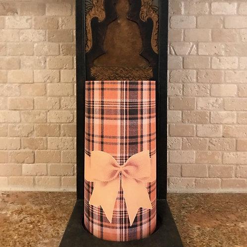 Plaid of Fall, Tall, Flameless Candle, 4x8, Keleka Designs