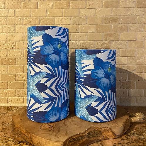Blue Hibiscus & Starfish, Set, Flameless Candle, 4x6, 4x8, Keleka Designs