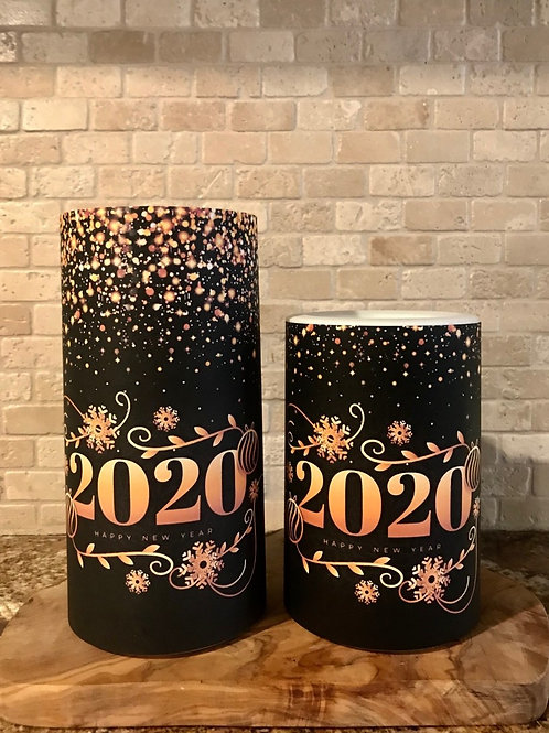 Happy New Year 2020, Set, Flameless Candle, 4x6, 4x8, Keleka Designs