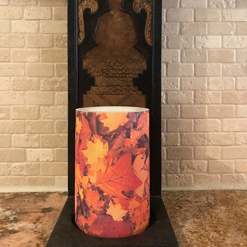 Leaves of Fall, Flameless Candle, 4x6, Keleka Designs