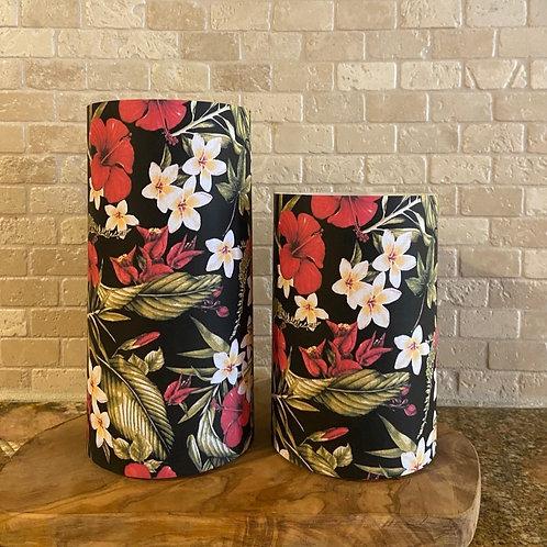 Hibiscus & Plumerias, Set, Flameless Candle, 4x6, 4x8, Keleka Designs