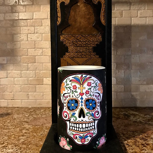 Sweet Sugar Skull,  Flameless Candle, 4x6, Keleka Designs