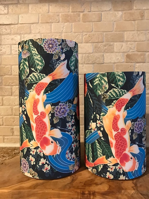 Koi Fish Pond, Set, Flameless Candle, 4x6, 4x8, Keleka Design