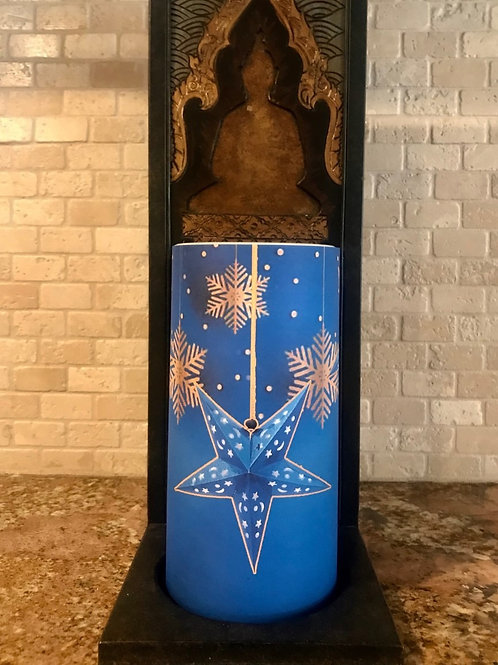 Dreamy Snowflakes, Tall,  Flameless Candle, 4x8, Keleka Designs