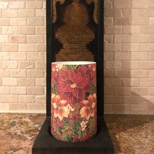 Pretty Poinsettia, Flameless Candle, 4x6, Keleka Designs