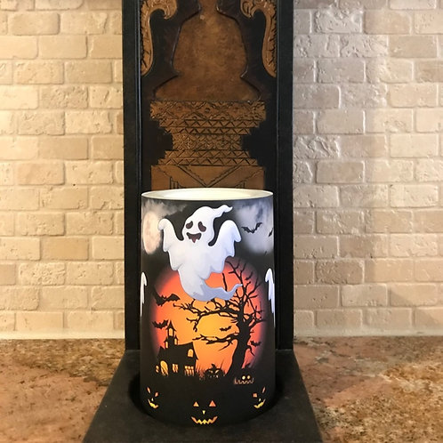 Ghosts of Halloween, Flameless Candle, 4x6, Keleka Designs