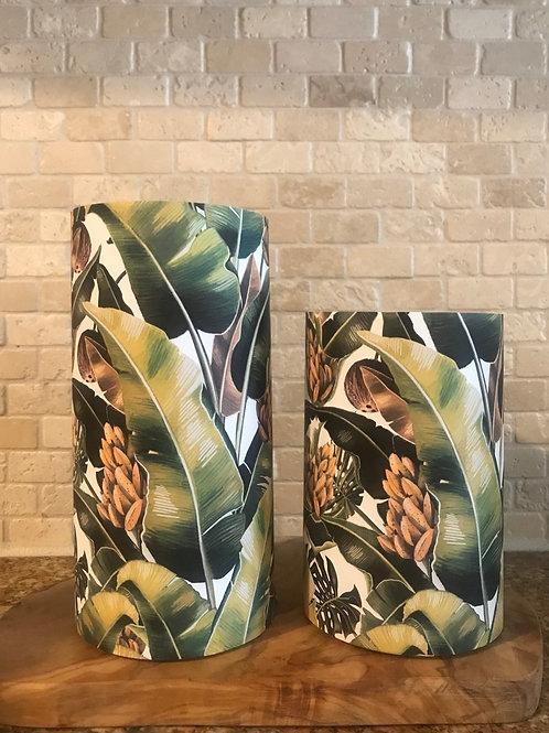 Banana Palms, Set, Flameless Candle, 4x6, 4x8, Keleka Design