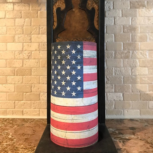 Americana Flag, Tall, Flameless Candle, 4x8, Keleka Designs