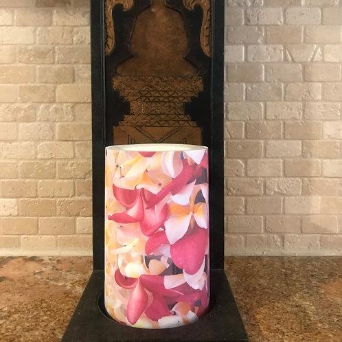 Plumeria Leis, Flameless Candle, 4x6, Keleka Designs