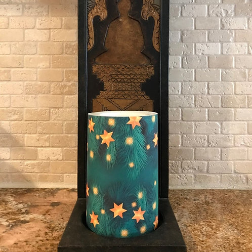 Evergreen Stars,  Flameless Candle , 4x6, Keleka Designs