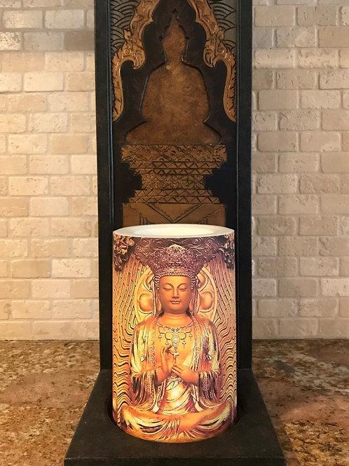 Buddha Love,  Flameless Candle, 4x6, Keleka Designs