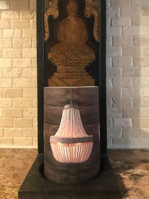 Wooden Chandelier , Flameless Candle, 4x6, Keleka Designs