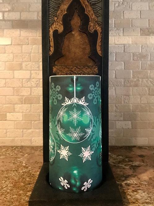 Winter green, Tall,  Flameless Candle, 4x8, Keleka Designs
