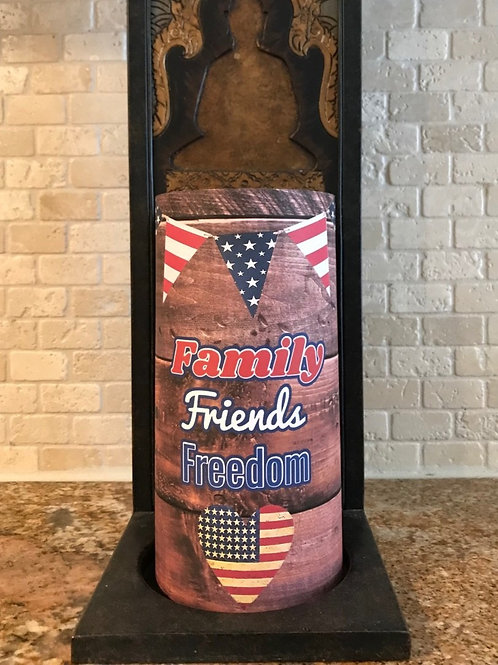 Family Friends Freedom, Dark Wood, Flameless Candle, 4x8, Keleka Designs
