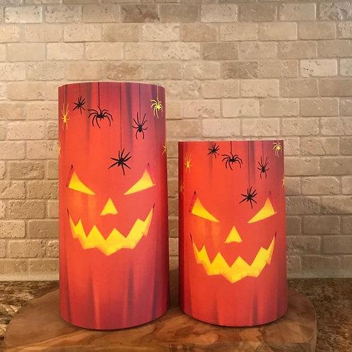 Carved Pumpkin, Set, Flameless Candle, 4x6,4x8, Keleka Designs