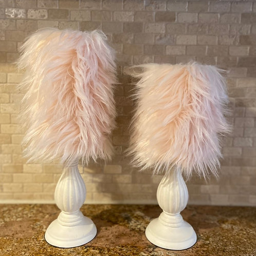 Light Pink Faux Fur, Set, Flameless Candle, 4x6, 4x8, Keleka Designs