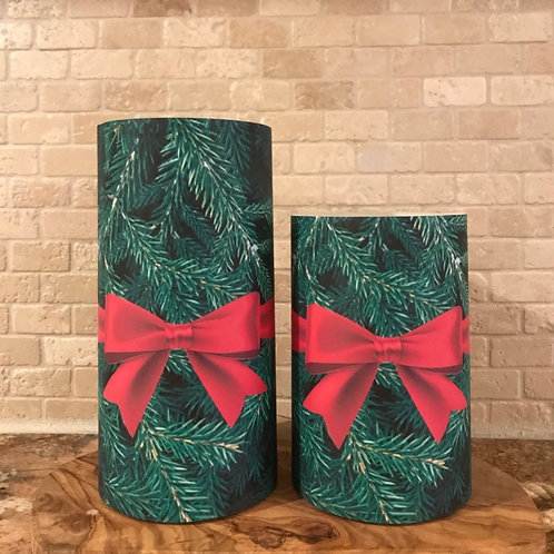 Wrapped in Evergreen, Set, Flameless Candle, 4x6,4x8, Keleka Designs