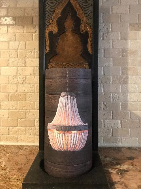 Wooden Chandelier, Tall, Flameless Candle, 4x8, Keleka Designsg